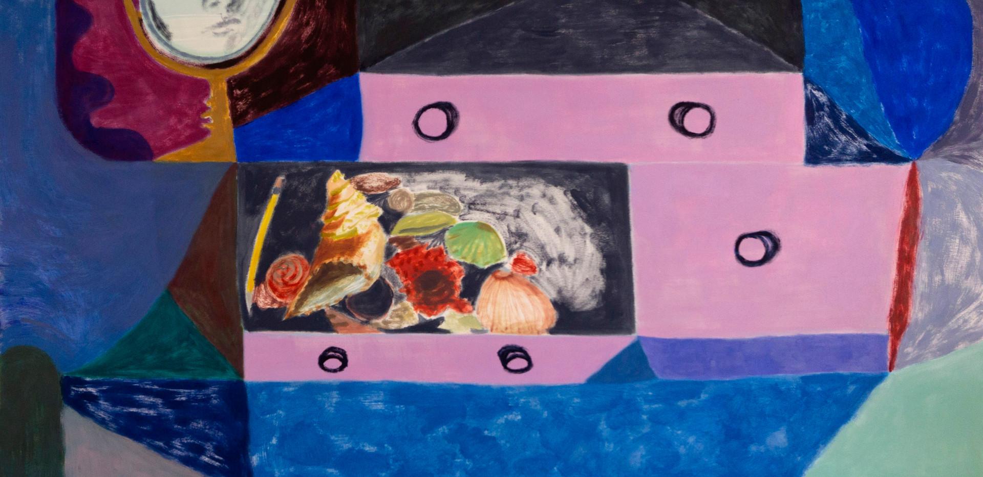 Courtney Mendenhall, Dresser, 2020, oil on paper, 22 x 30 in