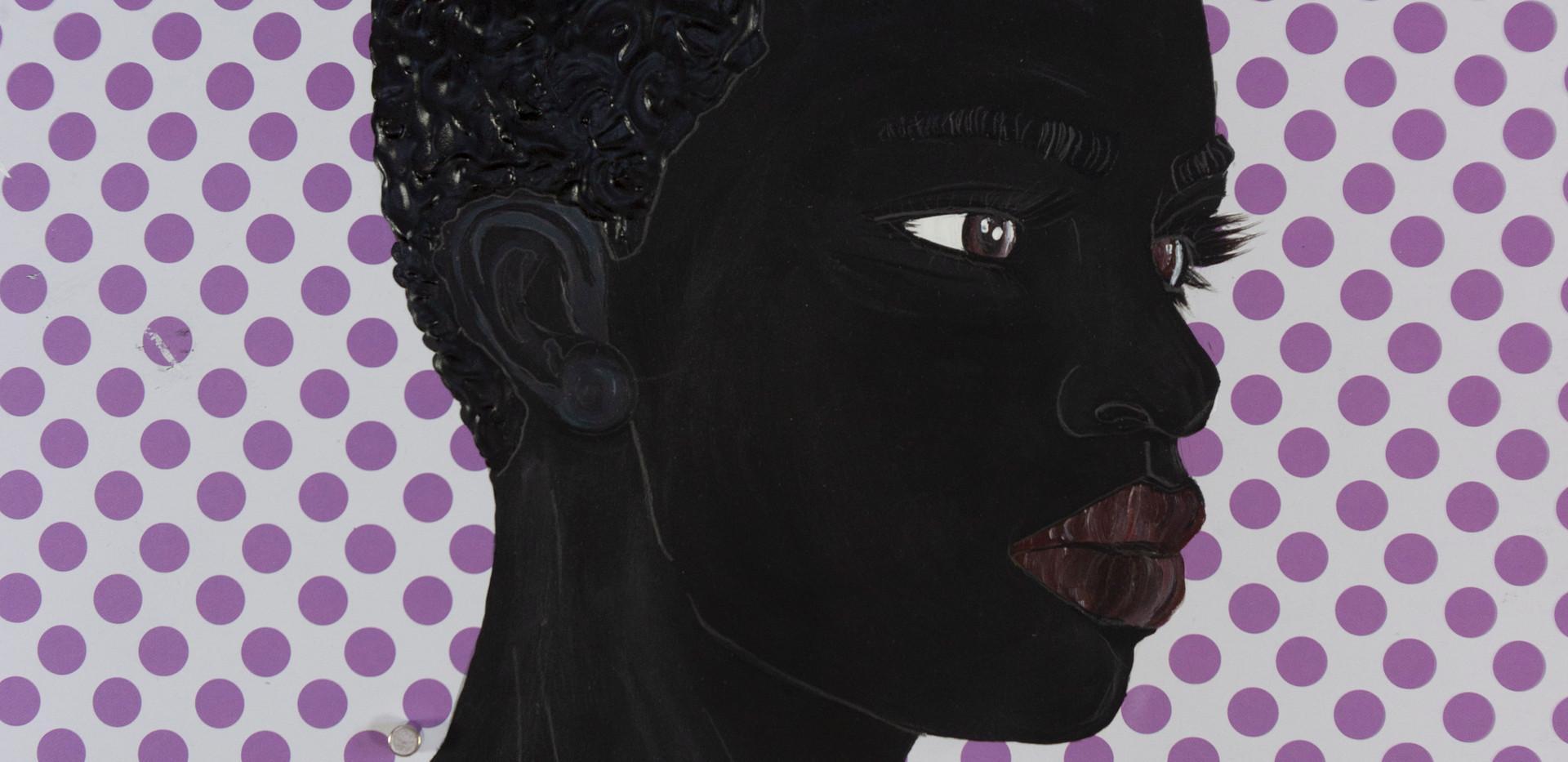 Idris Habib, Purple D, Acrylic and pencil on paper, 2020, 12 x 12 in
