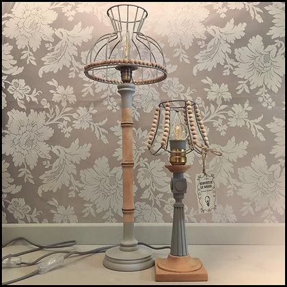 paire de lampes pied en bois