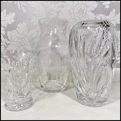 set déco 3 vases en cristal