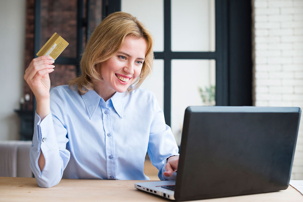 This image is a woman with a credit card representing our online store.