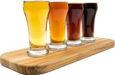 Different Beers on a wood block representing a brewery.