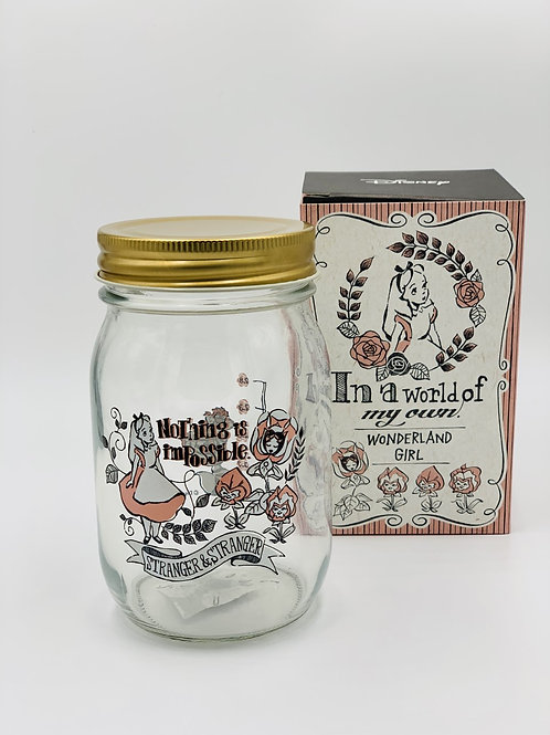 Alice in Wonderland Glass Jar with Tin Plate Lid
