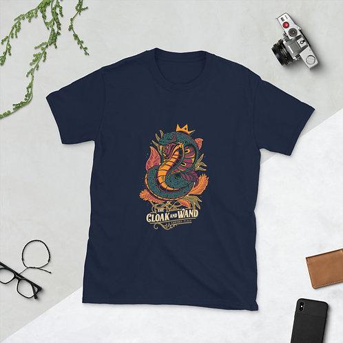 The Cloak and Wand Unisex T-Shirt - Snake Design (Navy Blue)