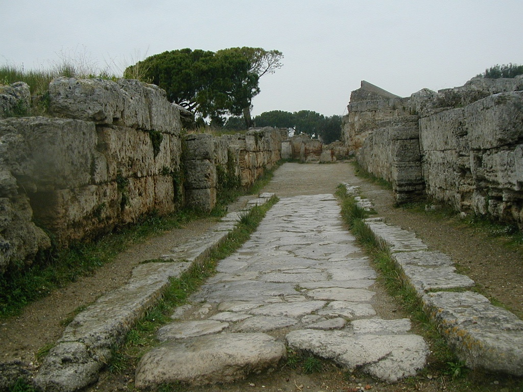 Italy, Paestum, Forum,1 street