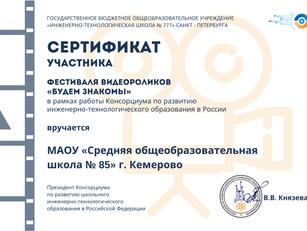 """Ученица МАОУ """"СОШ № 85"""" приняла участие в фестивале видеороликов"""