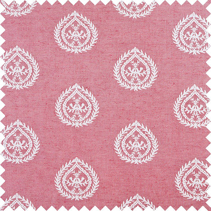 Swatch of Medallions Cotton/Linen Fabric, Cerise / White