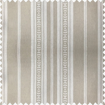 Swatch of Memory Stripe Print, Oatmeal on White