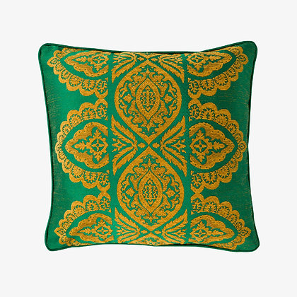 India Cushion, Peacock Green / Gold