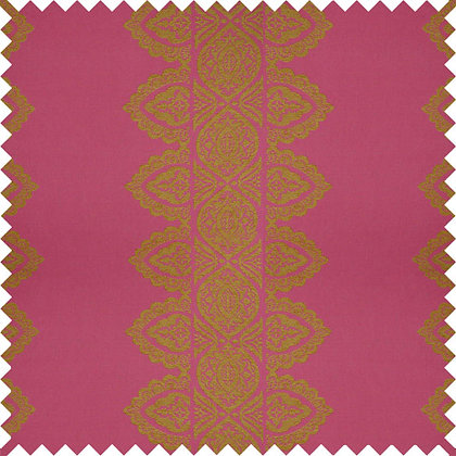 Swatch of India Chenille Fabric, Jaipur Pink / Gold (reversible)