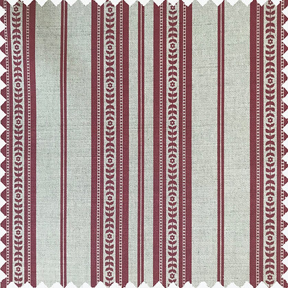 Swatch of Memory Stripe Print,  Red on Natural