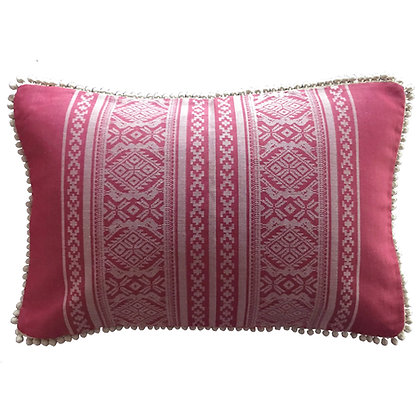 Hungarica Cushion with pom-pom trim in Cranberry