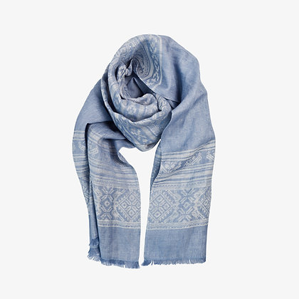 Hungarica Womens Linen Scarf, Sky / White