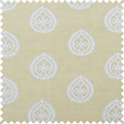 Swatch of Medallions Cotton/Linen Fabric, Gold / White (reversible)