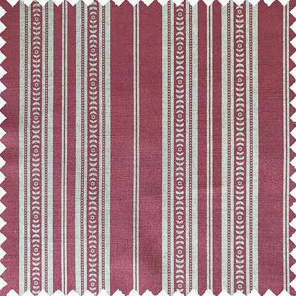 Swatch of Memory Stripe Print, Natural on Red