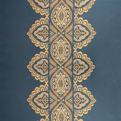 India Silk Fabric, Neelaa / Gold