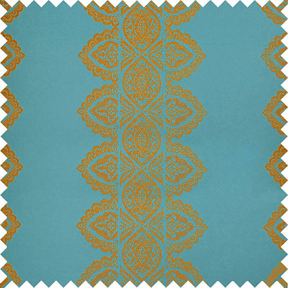 Swatch of India Chenille Fabric, Krishna Blue / Gold (reversible)