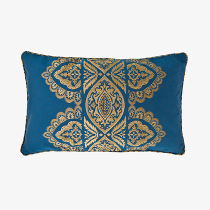 India Cushion, Ocean / Gold