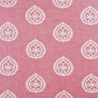 Medallions Cotton/Linen Fabric, Cerise / White