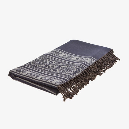 Hungarica Throw, Navy / Mouse
