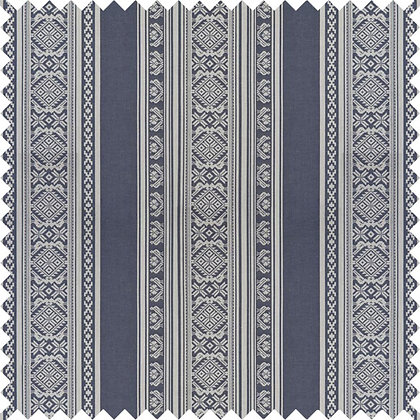 Swatch of Hungarica Cotton Fabric, Budapest Blue / White (reversible)