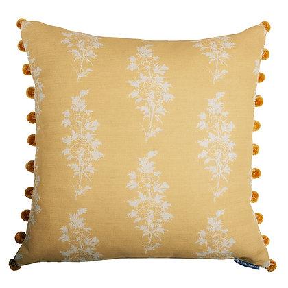 Mei/Tribes Narrow Stripe Cushion in Emperor's Gold with Pom-PomTrim