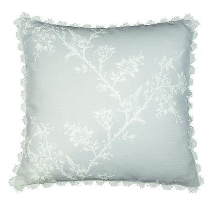 Victorian Tale Cushion in Blue Cloud with Fan Edge Trim