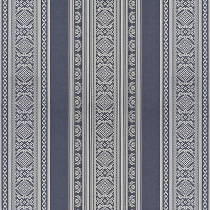 Hungarica Cotton Fabric, Budapest Blue / White (reversible)