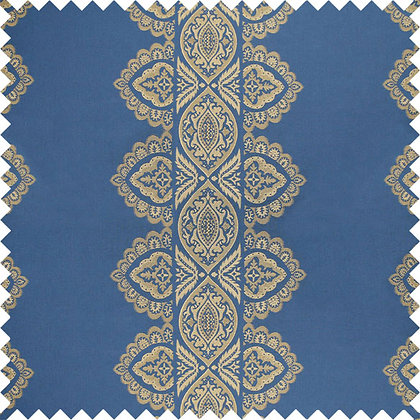 Swatch of India Cotton Fabric, Ocean / Gold