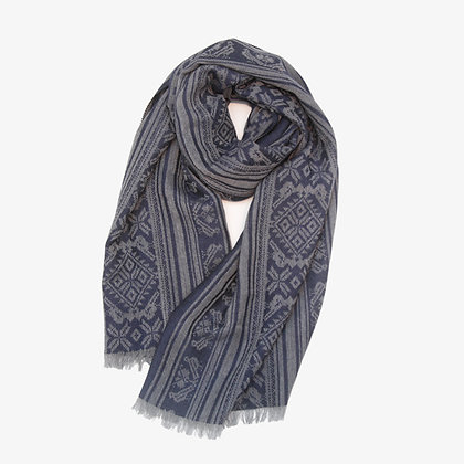 Hungarica Mens Cashmere Scarf, Grey / Navy