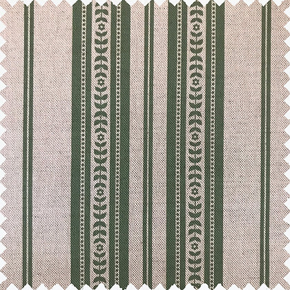 Swatch of Memory Stripe Print,  Green on Natural