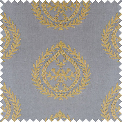 Swatch of Medallions Fabric, Silver / Gold