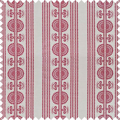 Swatch of Kurpie Fabric, Red