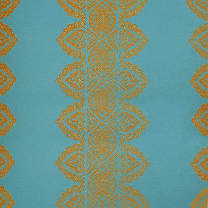India Chenille Fabric, Krishna Blue / Gold (reversible)