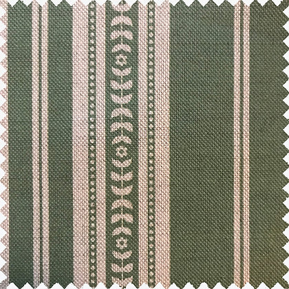 Swatch of Memory Stripe Print,  Natural on Green