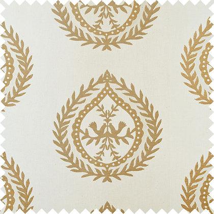 Swatch of Medallions Fabric, Cream / Gold