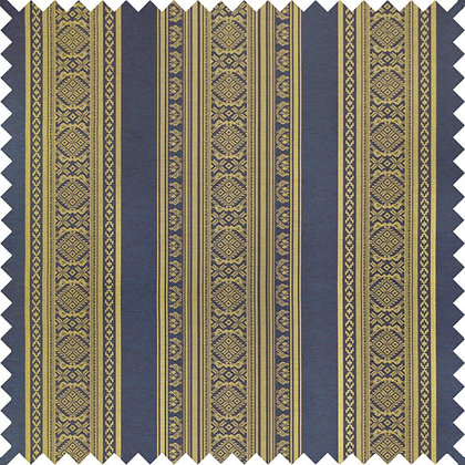 Swatch of Hungarica Viscose Blend Fabric, Brass / Battleship (reversible)