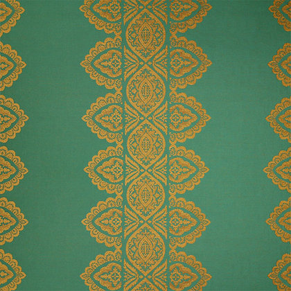India Chenille Fabric, Peacock Green / Gold (reversible)