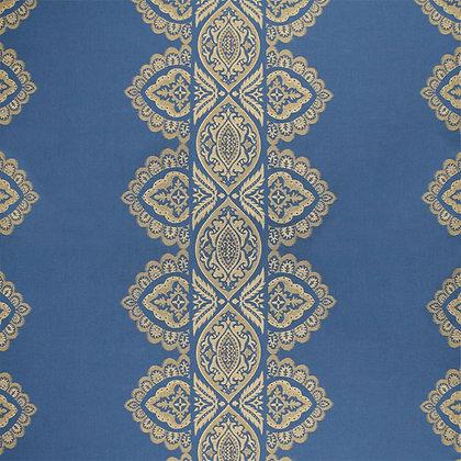 India Cotton Fabric, Ocean / Gold