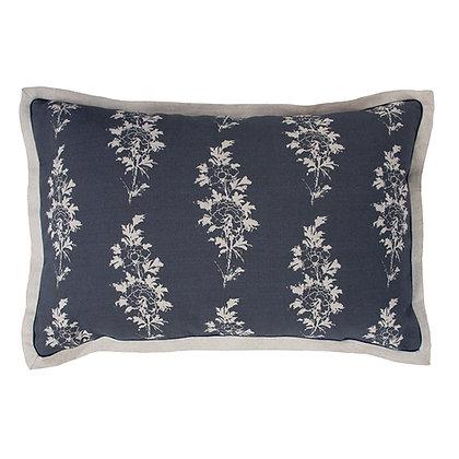Mei/Memory Stripe Cushion in Ink with plain linen border