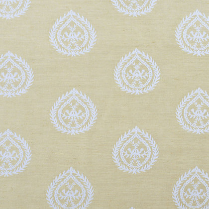 Medallions Cotton/Linen Fabric, Gold / White (reversible)