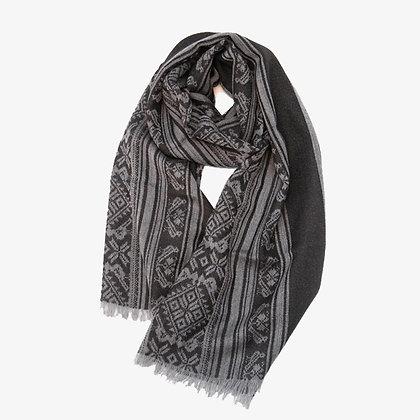 Hungarica Mens Cashmere Scarf, Grey / Black