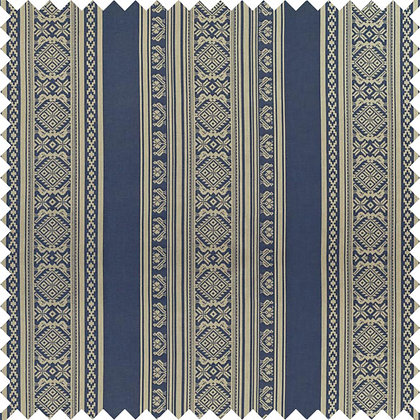 Swatch of Hungarica Cotton Fabric, Budapest Blue / Gold (reversible)