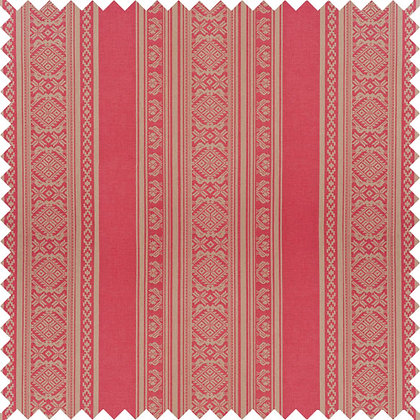 Swatch of Hungarica Cotton Fabric, Red / Gold (reversible)
