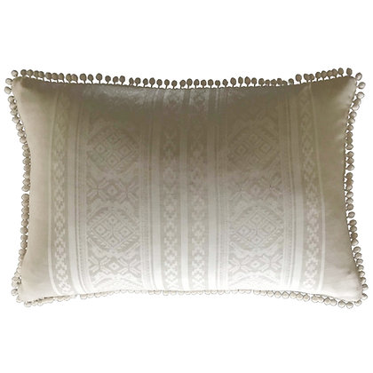 Hungarica Cushion with pop-pom trim in Natural