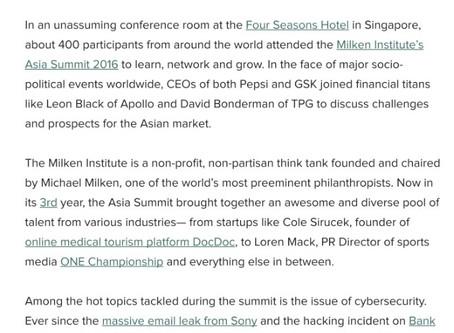 Milken Institute Asia Summit- A Sandbox for Olympians - The Huffington Post