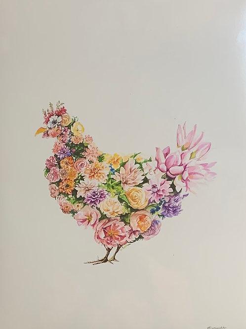 11x14 Flower Chicken