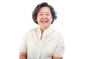 Portrait of a cheerful asian senior woma