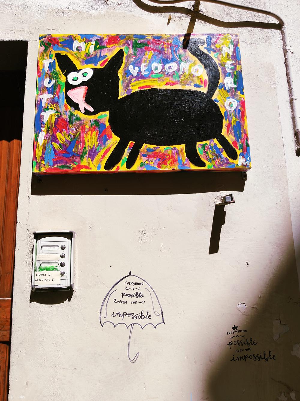 Street art in Via della Viola, Perugia, Umbria. Tutti mi vedono nero