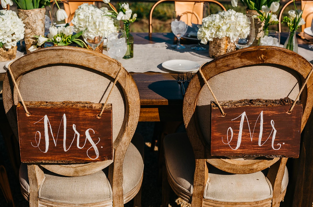 Mr and Mrs signs for bride and groom